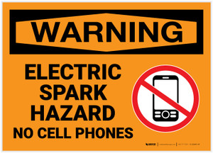 Warning: Electric Spark Hazard - No Cell Phone with Icon - Label