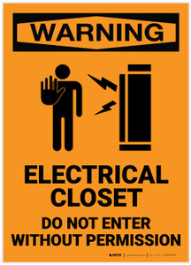 Warning: Electrical Closet - Do Not Enter Without Permission with Icon - Label