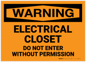 Warning: Electrical Closet Do Not Enter Without Permission - Label