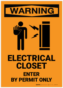 Warning: Electrical Closet - Enter by Permit Only with Icon - Label