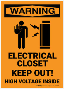 Warning: Electrical Closet - Keep Out/High Voltage with Icon - Label