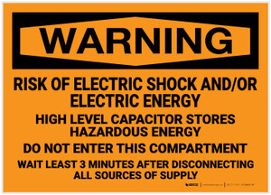 Warning: Risk of Electric Shock and/or Electric Energy - Label