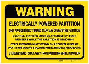 Warning: Electrically Powered Partition - Label