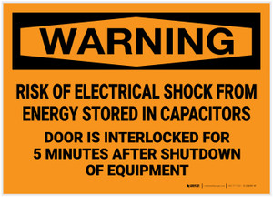 Warning: Risk of Electrical Shock from Stored Energy Door is Interlocked - Label