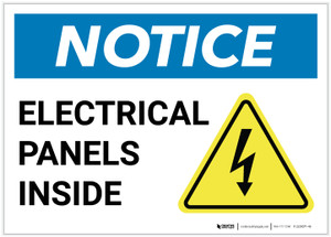 Notice: Electrical Panels Inside With Graphic - Label