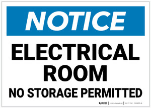 Notice: Electrical Room No Storage Permitted - Label
