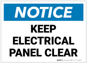 Notice: Keep Electrical Panel Clear - Label