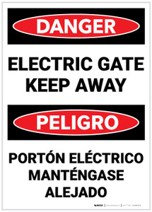 Danger: Electric Gate Keep Away Bilingual Spanish - Label
