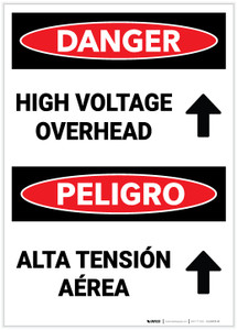 Danger: High Voltage Overhear with Arrow Up Bilingual Spanish - Label
