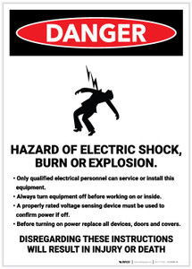 Danger: Hazard of Electric Shock/Burn/Explosion Portrait - Label