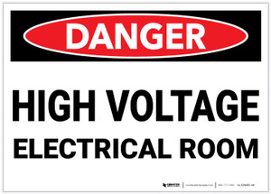Danger: High Voltage Electrical Room - Label