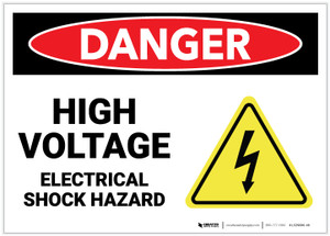 Danger: High Voltage Electrical Shock Hazard with Hazard Icon - Label