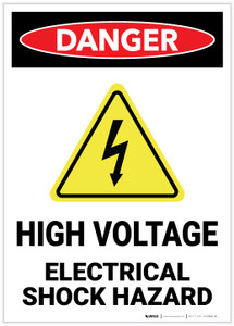 Danger: High Voltage - Electrical Shock Hazard with Hazard Icon Portrait - Label