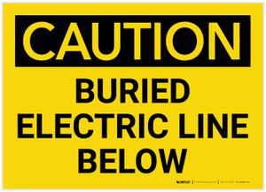 Caution: Buried Electric Line Below - Label