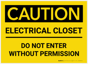 Caution: Electrical Closet/Do Not Enter Without Permission - Label
