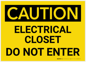Caution: Electrical Closet - Do Not Enter - Label