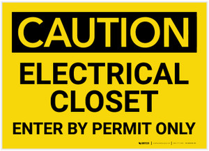 Caution: Electrical Closet - Enter by Permit Only - Label