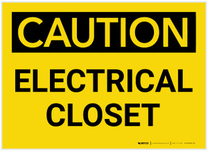 Caution: Electrical Closet - Label