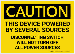 Caution: This Device Powered by Several Sources - Label