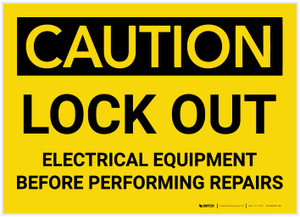 Caution: Lock Out Electrical Equipment Before Performing Repairs - Label