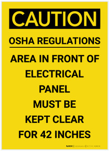 Caution: Electrical Panel Must be Kept Clear for 42 Inches Portrait - Label