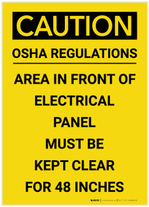 Caution: Electrical Panel Must be Kept Clear for 48 Inches Portrait - Label