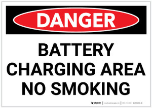 Danger: Battery Charging Area No Smoking - Label