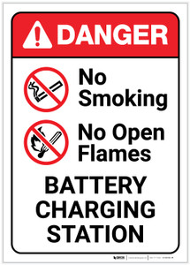 Danger: No Smoking/Open Flames - Battery Charging Station - Label