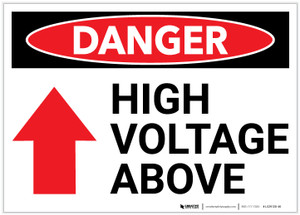 Danger: High Voltage Above Arrow Up - Label