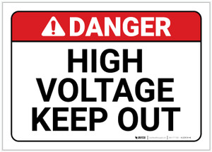 Danger: High Voltage - Keep Out ANSI - Label