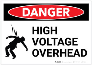 Danger: High Voltage Overhead with Graphic - Label