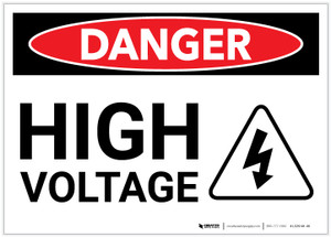 Danger: High Voltage with Hazard Icon - Label