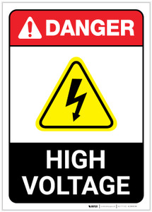 Danger: High Voltage Portrait ANSI - Label