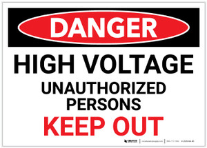 Danger: High Voltage - Unauthorized Persons Keep Out - Label