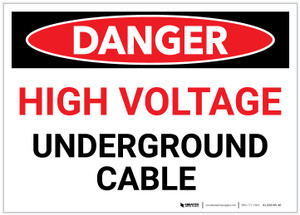 Danger: High Voltage - Underground Cable - Label