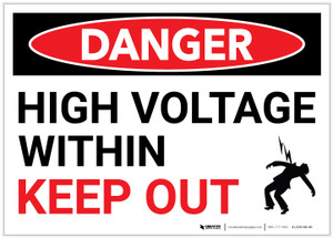 Danger: High Voltage Within - Keep Out - Label