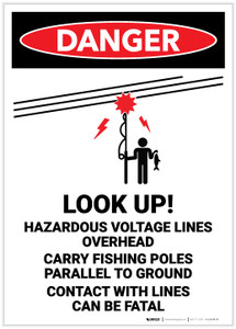 Danger: Look Up! Hazardous Voltage Lines Overhead - Label