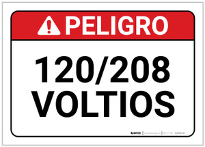 Danger: 120/208 Volts Spanish - Label
