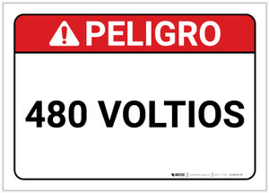 Danger: 480 Volts Spanish - Label