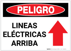 Danger: Electric Lines Above - Label