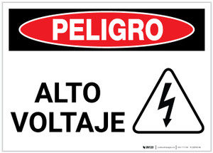 Danger: High Voltage with Hazard Icon Spanish - Label