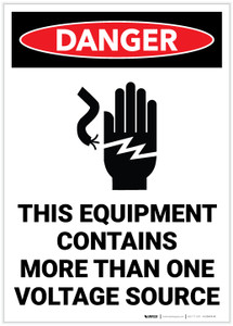 Danger: This Equipment Contains More Than One Voltage Source Portrait - Label
