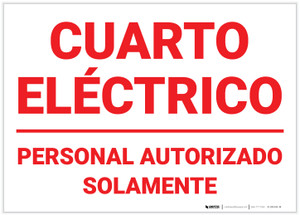 Electrical Room Authorized Personnel Only Spanish - Label