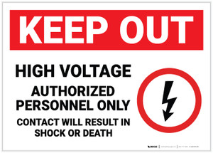 Keep Out High Voltage Authorized Personnel Only with Icon Landscape - Label