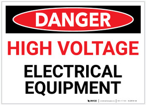Danger: High Voltage - Electrical Equipment - Label