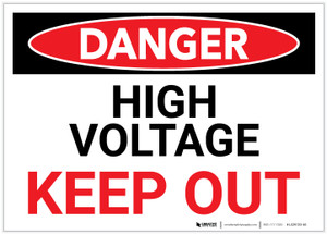 Danger: High Voltage - Keep Out - Label