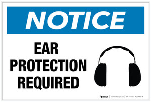 Notice: Ear Protection Required with Icon - Label