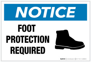 Notice: Foot Protection Required with Icon - Label