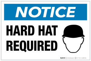 Notice: Hard Hat Required with Icon - Label