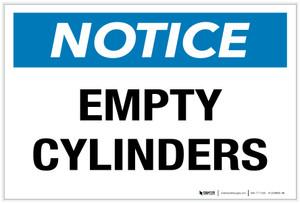 Notice: Empty Cylinders - Label